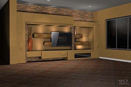 3D computer design rendering of a custom home entertainment center design project by DAGR Design