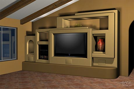 3D design rendering of a Southwest-style home entertainment center with accent lighted niches by DAGR Design