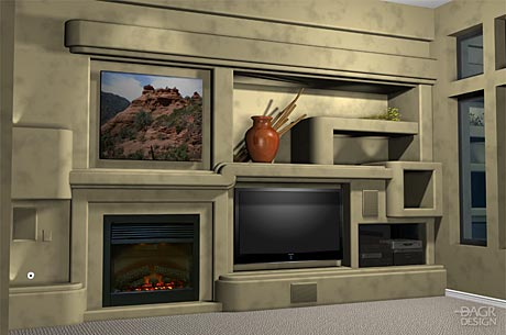 3D computer rendering of a home theater with multiple=