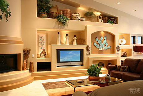 southwest style custom home entertainment media wall with fireplace - Entertainment Center Design Ideas
