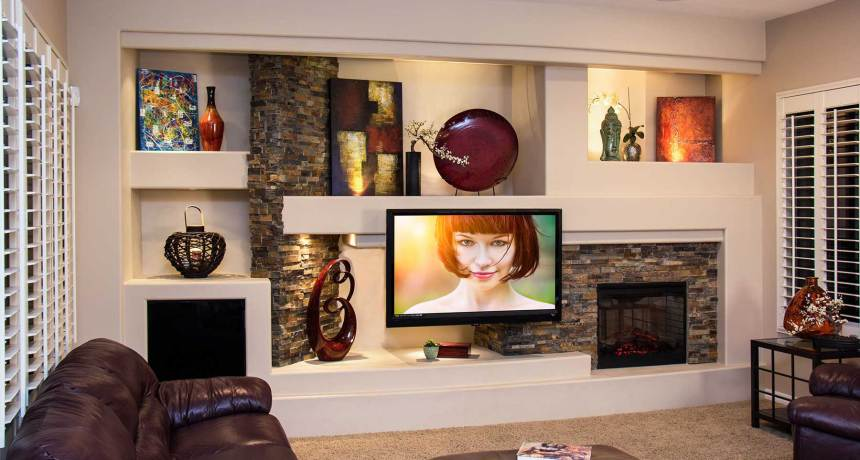 Custom media wall entertainment center for Paris Lenon by DAGR Design