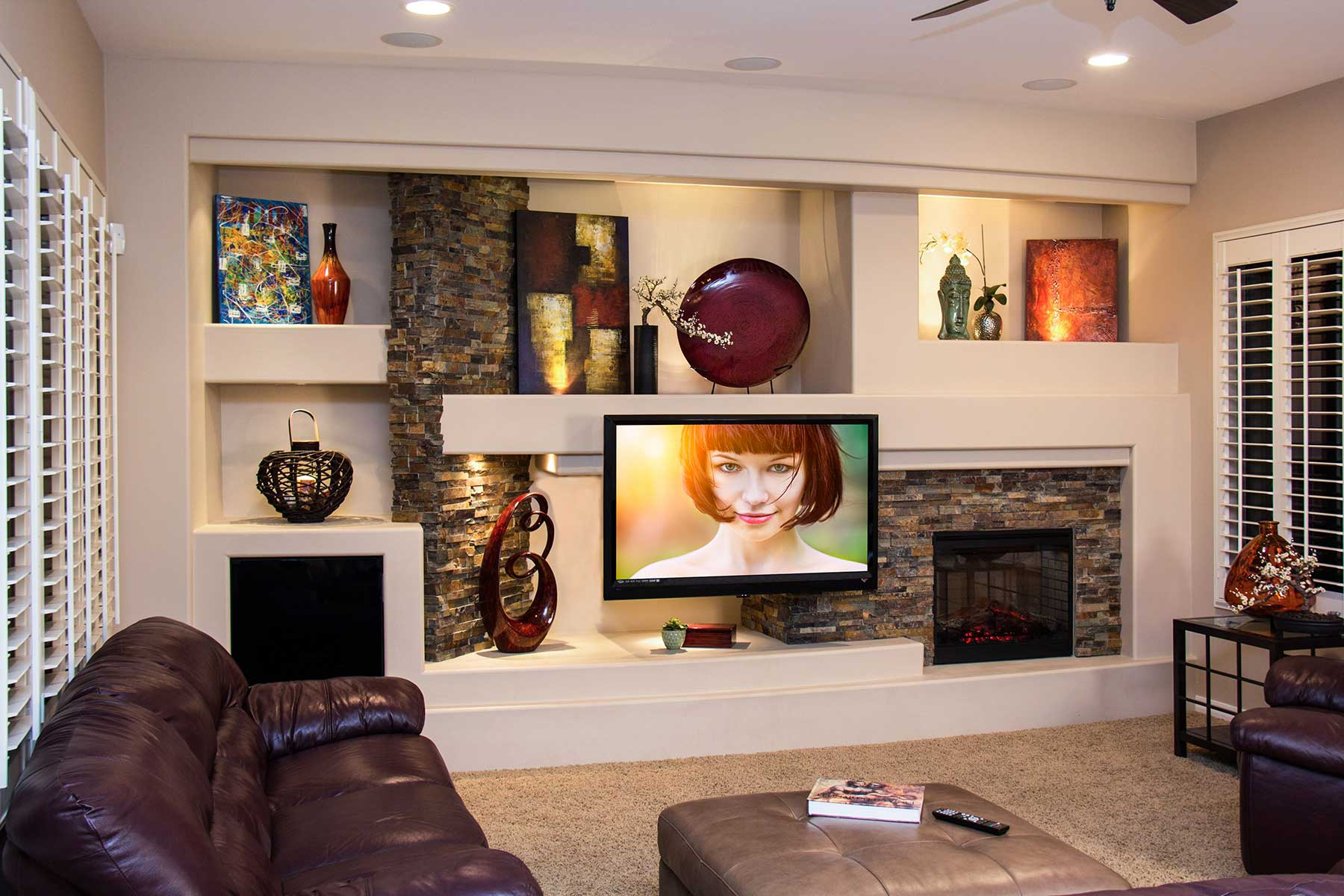 new home entertainment center fit for a gridiron star