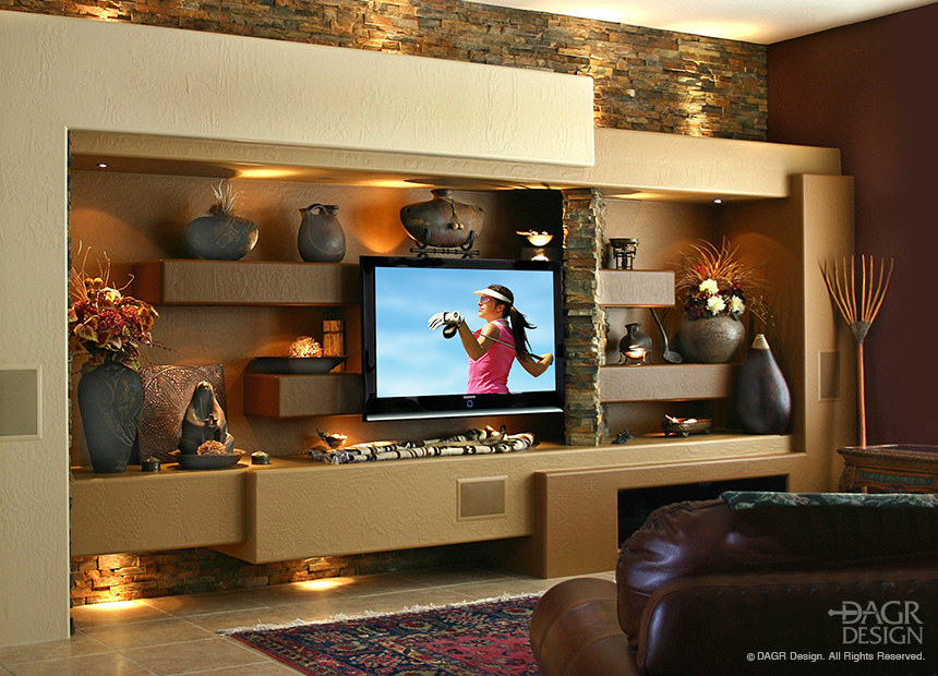 Custom Media Wall With Stone Accents