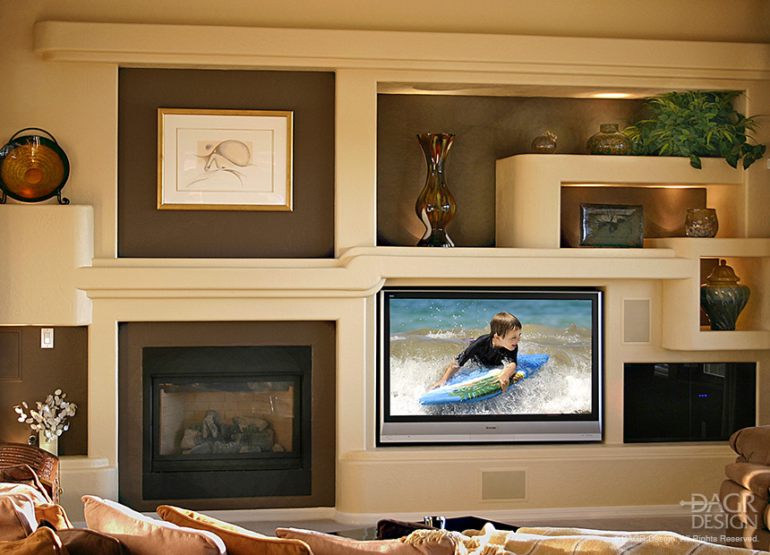 Modern style custom drywall media wall with fireplace, large screen TV, art and collectible niches, and plant shelves. Original custom design and on-site build by DAGR Design.
