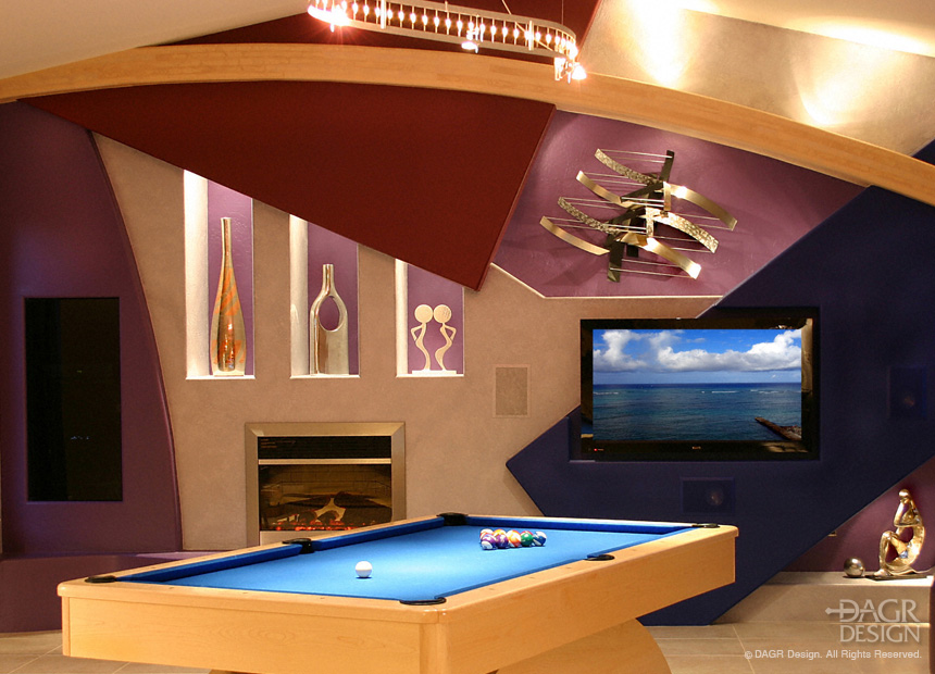 Modern, artistic custom home entertainment center media room custom designed and built by DAGR Design.