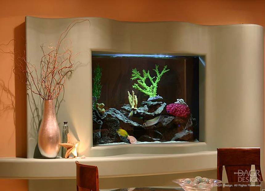 Custom drywall fish aquarium wall design by DAGR Design.