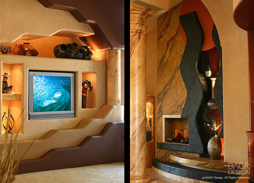 Artistic, custom-designed home media walls and entertainment centers by DAGR Design.