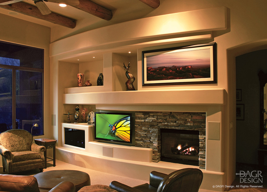Custom Home Entertainment Center Curved Design With Fireplace and Natural Stone Accents