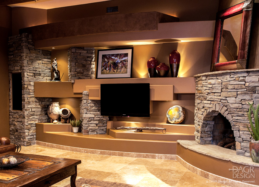 Rustic Style Custom Drywall Home Media Wall With Natural Stone Fireplace and Lighted Niches