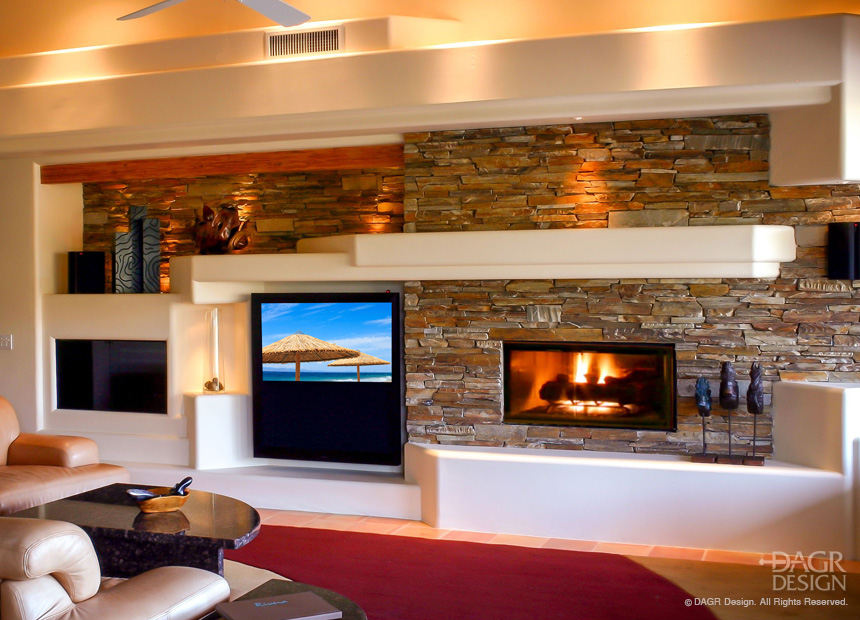 Modern Design Home Media Entertainment Center with Large Screen TV, Gas Fireplace, Stacked Stone, and Accent Lighting