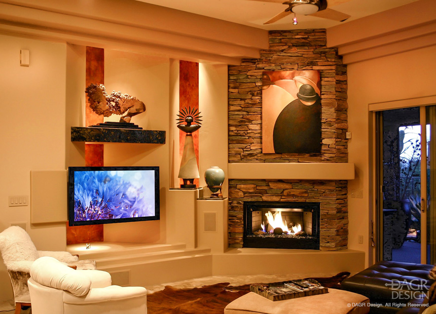 Custom Media Wall With Stone Fireplace and Custom Art Niches by DAGR Design