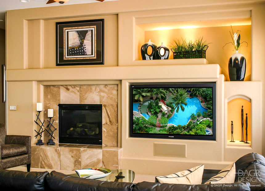 Custom Drywall Media Wall With Large Flat Screen TV, Custom Art Niches, Custom Lighting, And Tile Surround Fireplace by DAGR Design