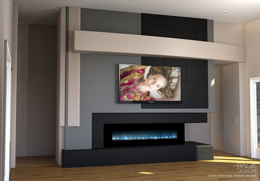 Modern home entertainment media wall design with contemporary fireplace by DAGR Design