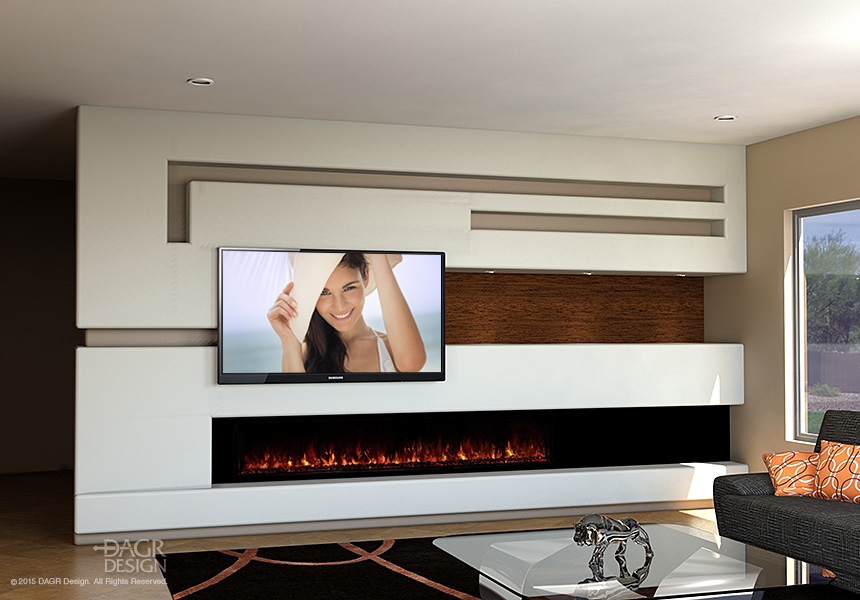 Modern media wall design with long, modern fireplace