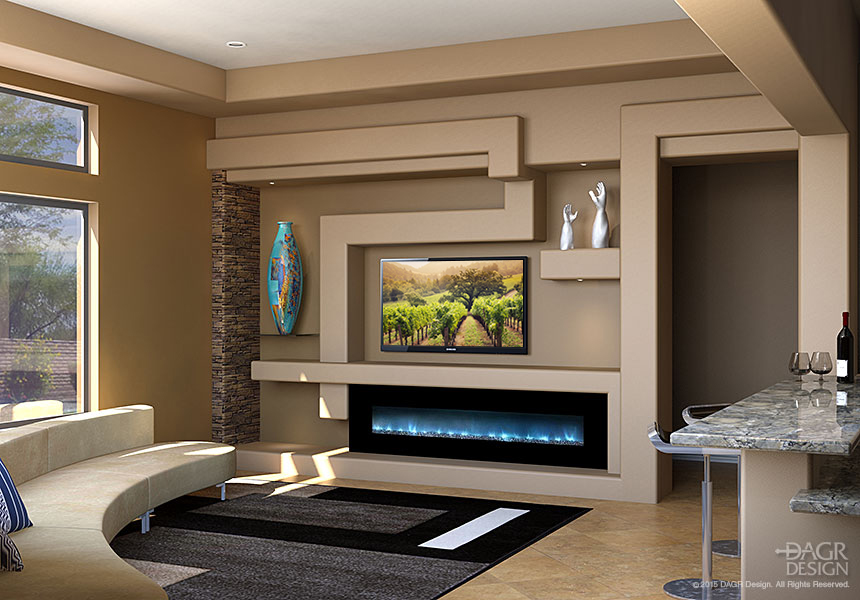 a modern media wall with stone and a warm color palette by dagr design
