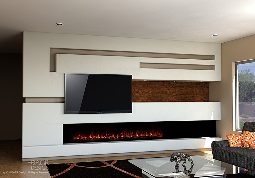 Modern media wall design with long, contemporary fireplace by DAGR Design.