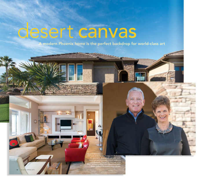 Feature Article in Su Casa Magazine for Modern PebbleCreek Media Wall Design for clients Robert and LInda Labenz