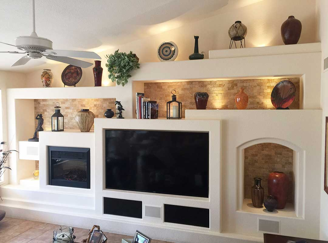 AFTER: The finished project. A timeless, original custom media wall by DAGR Design