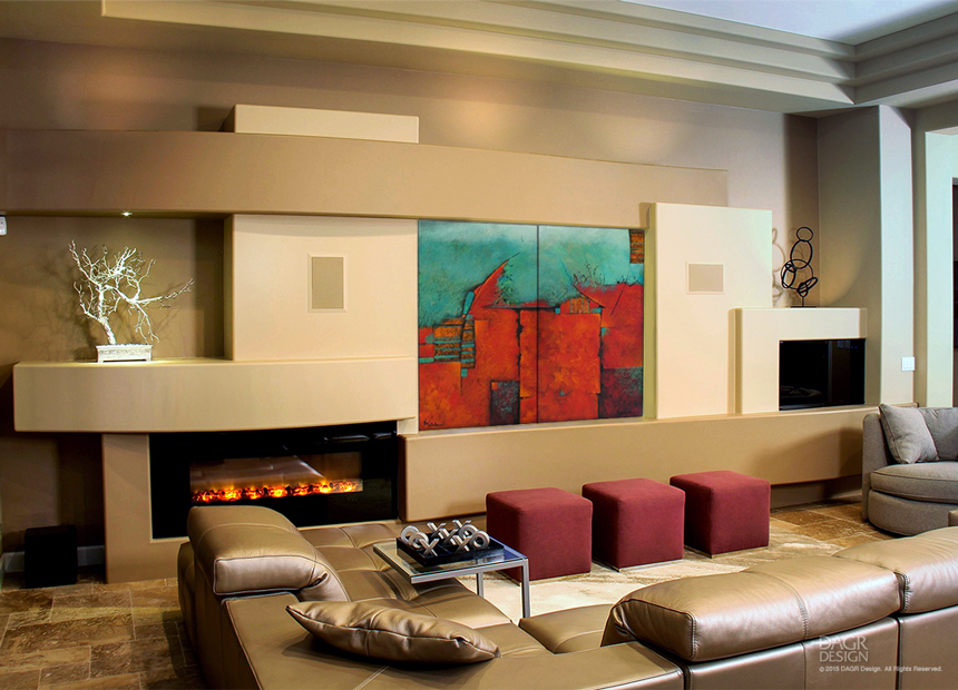 A custom media wall design created by DAGR Design incorporating a painting on a motorized panel that opens to reveal a hidden LCD tv