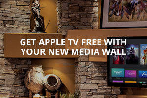 Design inspiration gallery for custom home entertainment center designs promo graphic