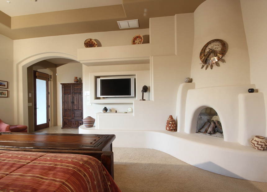 southwest-design-fireplace-custom-home-media-wall