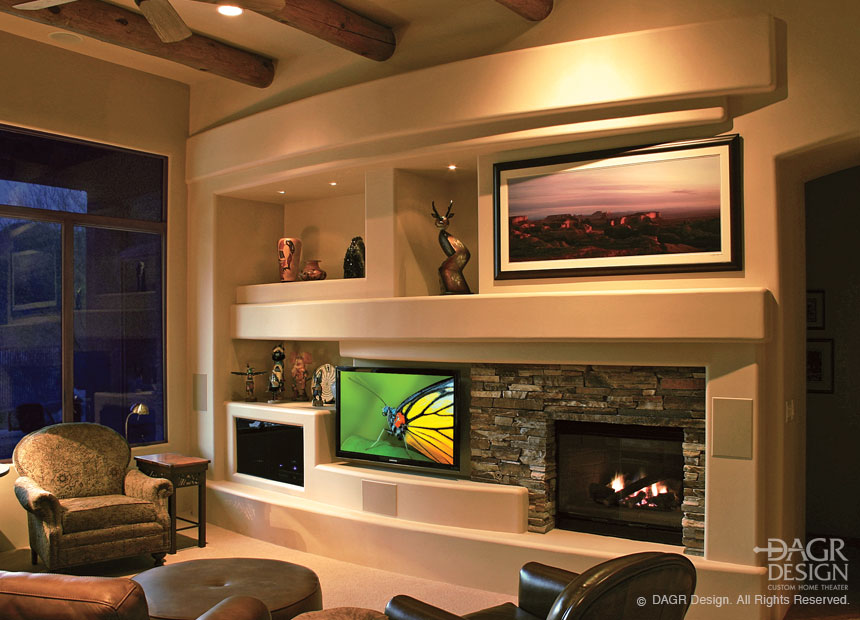 stacked stone media wall design by dagr design