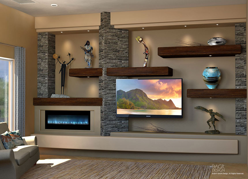 A floating shelves custom media wall design using hardwood shelves with undershelf lighting