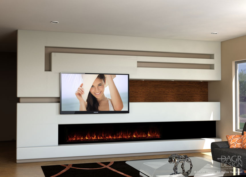 A modern, horizontal fireplace in a contemporary, modern-minimalist custom media wall design by DAGR Design.
