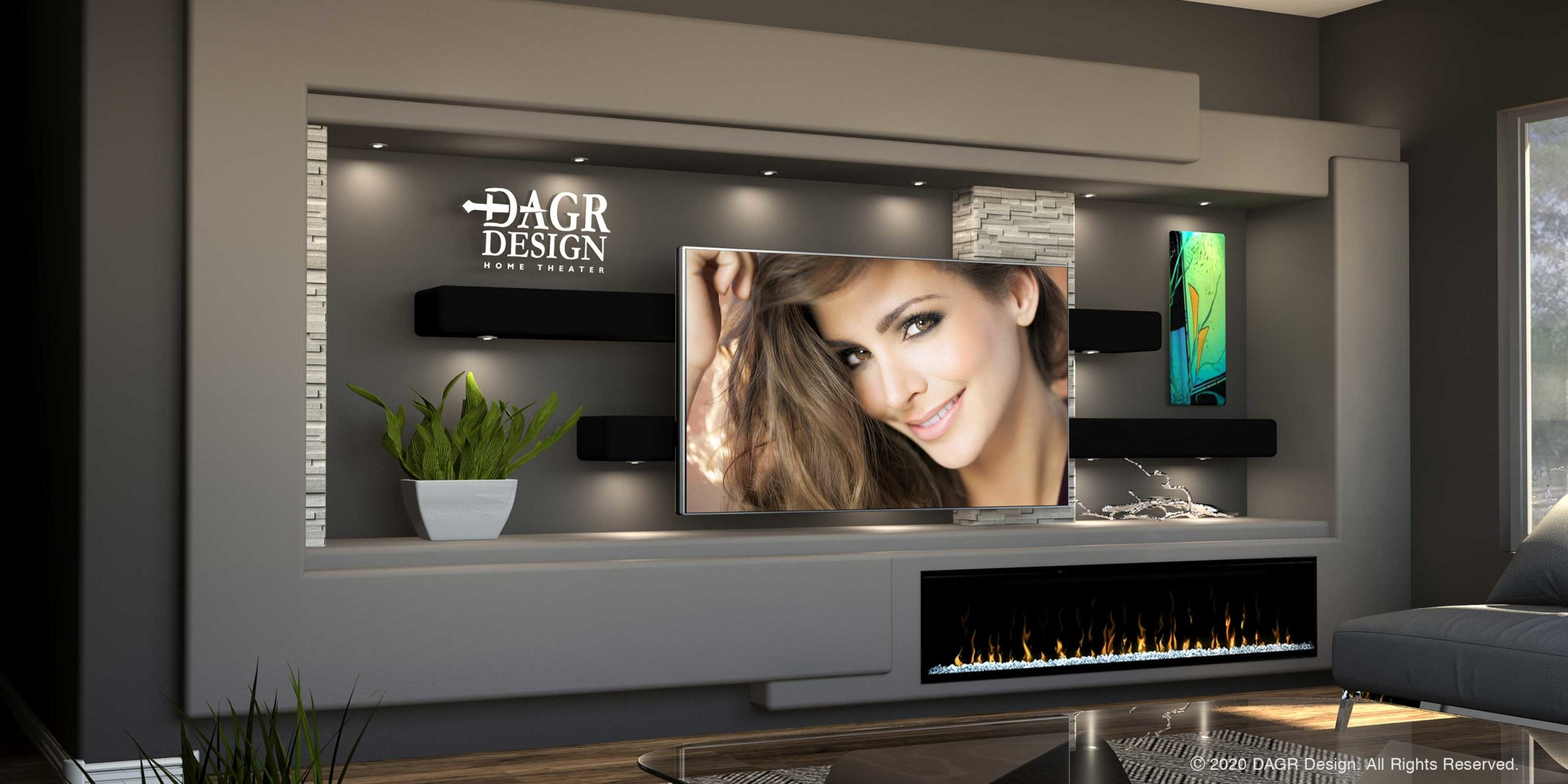 Modern Minimalist Media Wall Entertainment Center Design by DAGR Design