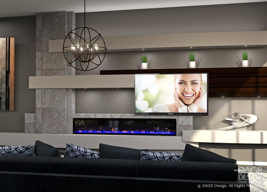 Open concept media wall design by DAGR Design.