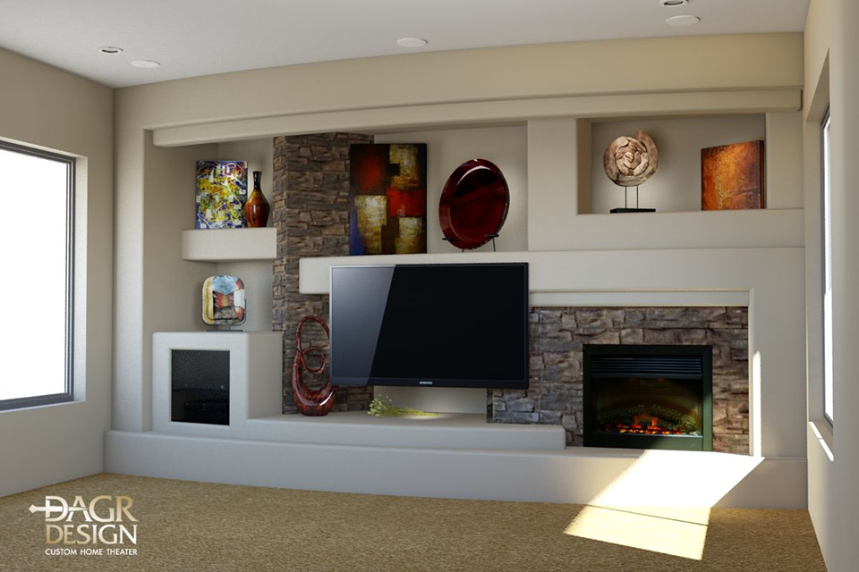3D design rendering of a custom entertainment center media wall for Paris Lenon designed and built by DAGR Design