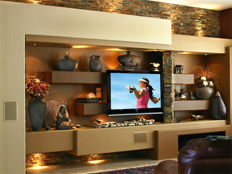 After image of DAGR Design custom drywall entertainment center