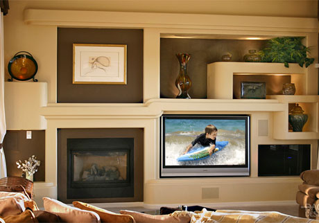 After photo of a DAGR Design custom drywall entertainment center installations