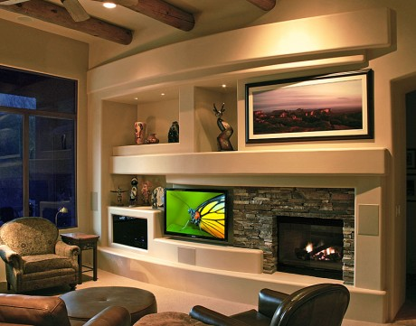 Home Design on Stone Adds Value To A Home Theater Or Media Wall Design   Dagr Design