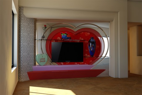 Valentine's Day Themed Media Wall 3D Rendering