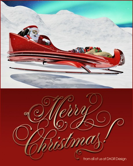 3D rendering of a new Super Sleigh concept for Santa Claus - DAGR Design.com
